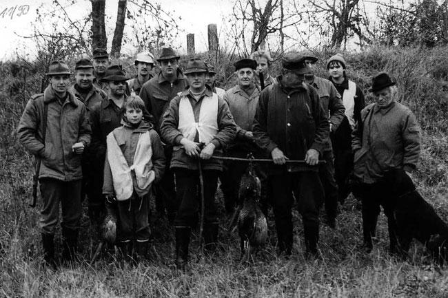 Treibjagd in Neuwegersleben mit dem damaligen Jagdleiter Frank Hoffmann (vorn links).