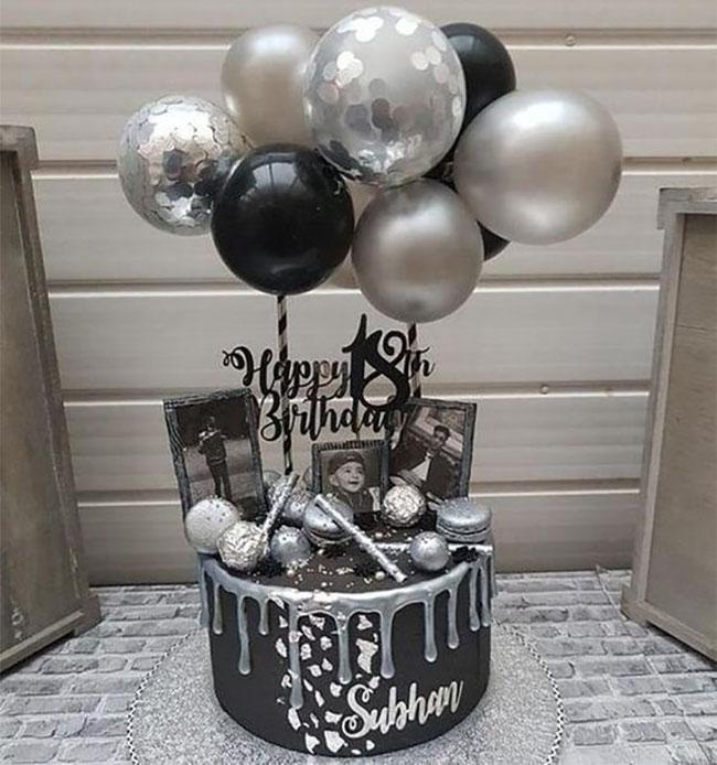pastel de cumpleaños blanco y negro para hombre