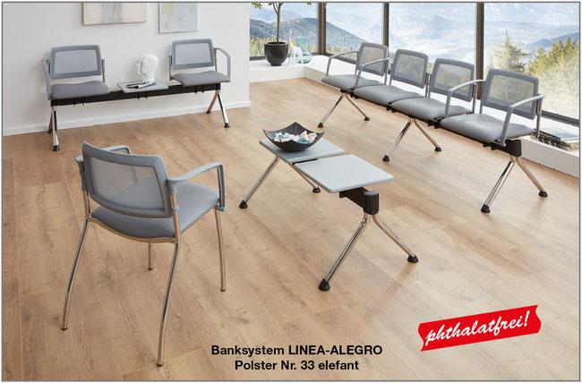 Das Banksystem LINEA-ALEGRO für die Einrichtung von Arztpraxen und Kliniken vereint ein luftiges, modernes Design mit hohem Sitzkomfort.