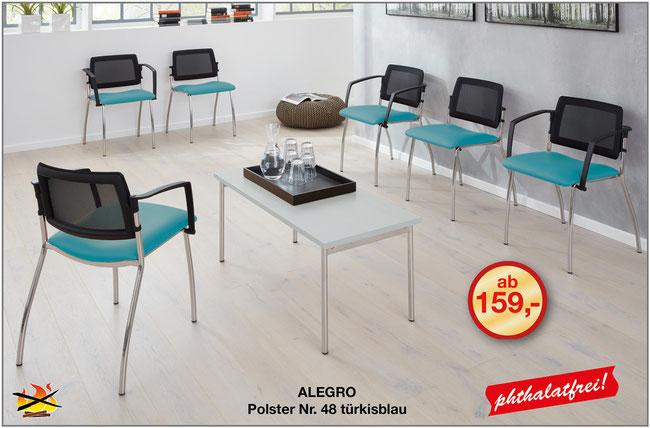 Der Wartezimmerstuhl ALEGRO von Medizinmöbel-Hersteller SIMPEX-OBJEKT für die Einrichtung von Arztpraxen und Kliniken vereint ein luftiges, modernes Design mit hohem Sitzkomfort.