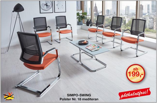 Der SIMPO-SWING ist ein kippsicherer Bequem-Freischwinger, der Bequemlichkeit und Design in einem hygienischen Wartezimmerstuhl für Praxis und Klinik vereint.