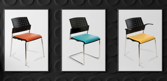 Wartezimmerstuhl ANDANTE liefert ein Klares Design-Statement mit angesagtem Lochraster und ist dabei ein hoch funktioneller, desinfizierbarer Wartezimmerstuhl/ Freischwinger mit phtalatfreien Polstern aus Kunstleder.