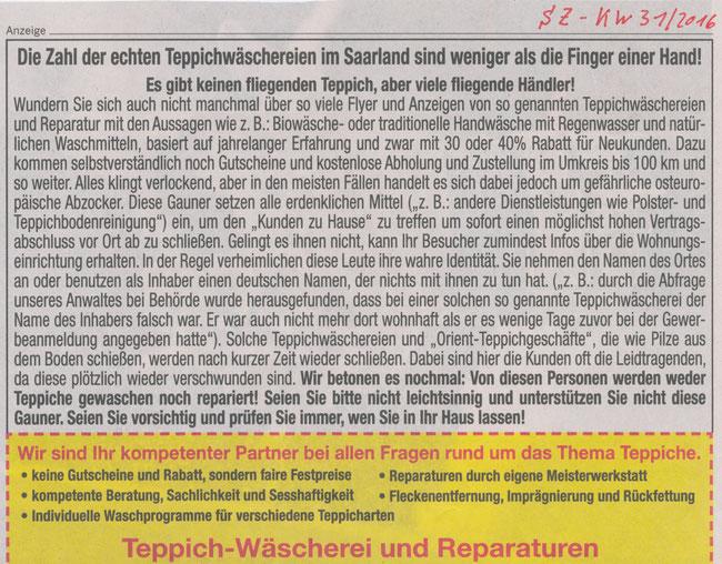 Fremdbetriebe, OTEX Teppichwäscherei, Anzeige SZ KW 31/2016