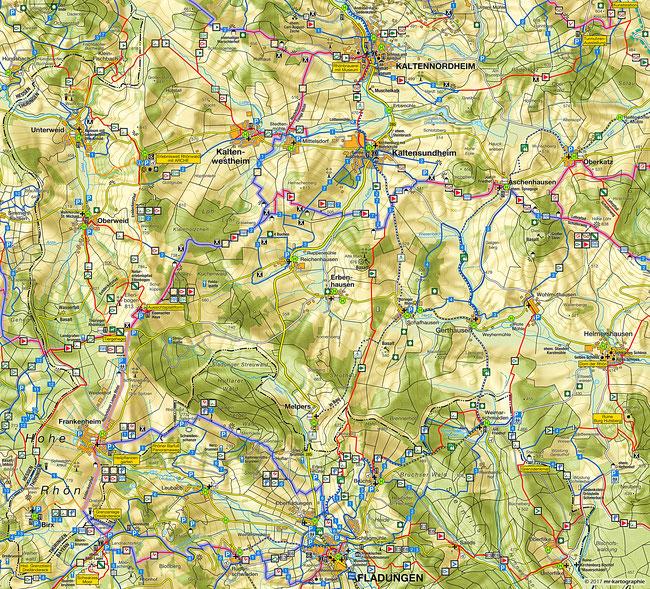 Übersichtskarte Wanderwegenetz Hohe Rhön
