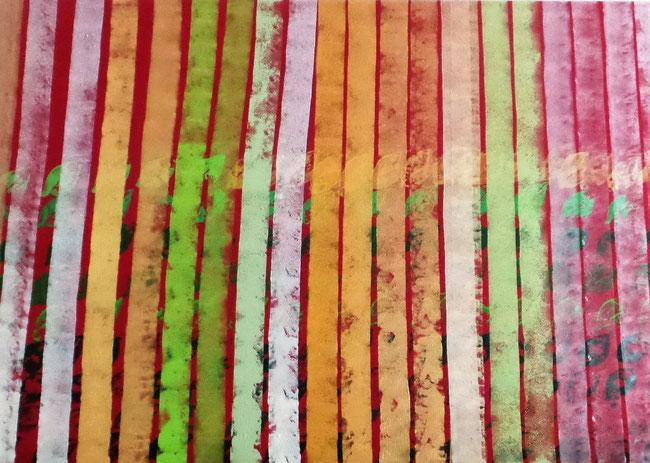 Gemälde in Gold, Grün und Rot