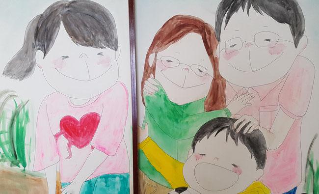 娘が教室の押し入れふすまに書いた家族絵