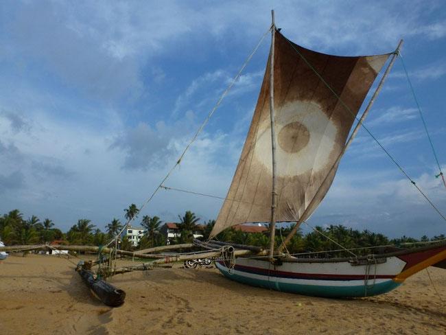 Bild: Fischerboot am Strand von Negombo