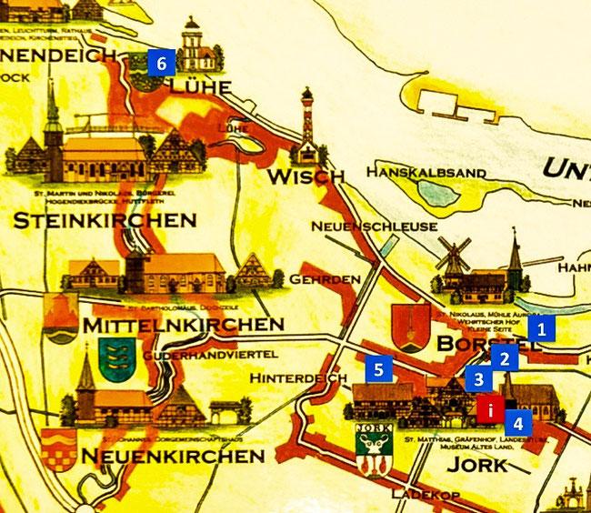 Bild: Stadtplan von Jork im Alten Land bei Hamburg
