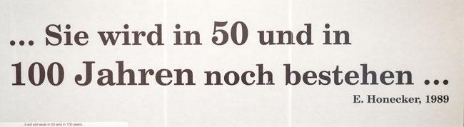 Bild: Spruch von Erich Honecker aus dem Jahr 1989 über die Grenze