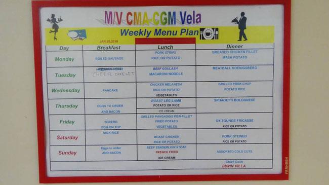 Bild: Der wöchentliche Menu Plan auf dem Containerschiff
