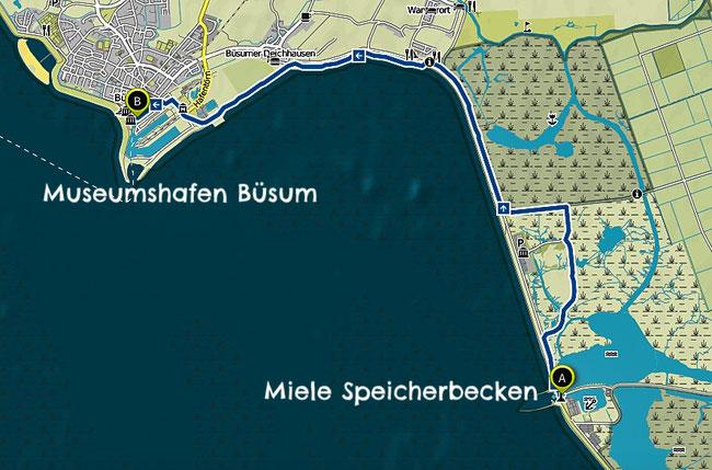 Bild: Karte der Wanderung von Meldorf nach Büsum