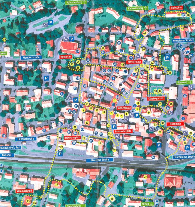 Bild: Stadtplan von Immenstadt im Allgäu mit eingetragener Besichtigungs-Route