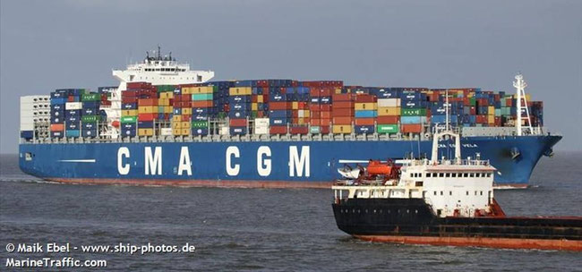 Bild: Containerschiff: CMA CGM Vela