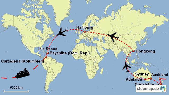 Bild: Karte der Weltreise - in 80 Tagen um die Welt