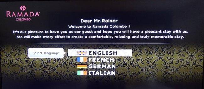 Bild: Begrüßungstext eines colombanischen Hotels