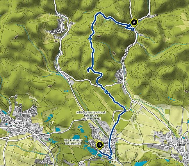 Bild: Karte der Wanderung im Harz von Zorge nach Walkenried