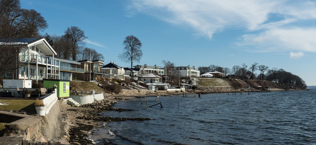 Foto der kleinen Stadt Kollund Mole in Dänemark an der Ostsee