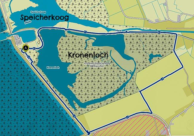 Bild: Wanderkarte NSG Kronenloch bei Meldorf