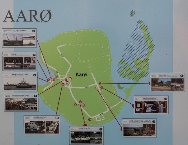 Karte der dänischen Insel Årø