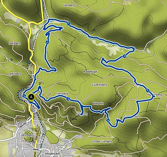 Bild: Karte der Wanderung Ilfelder Panoramaroute