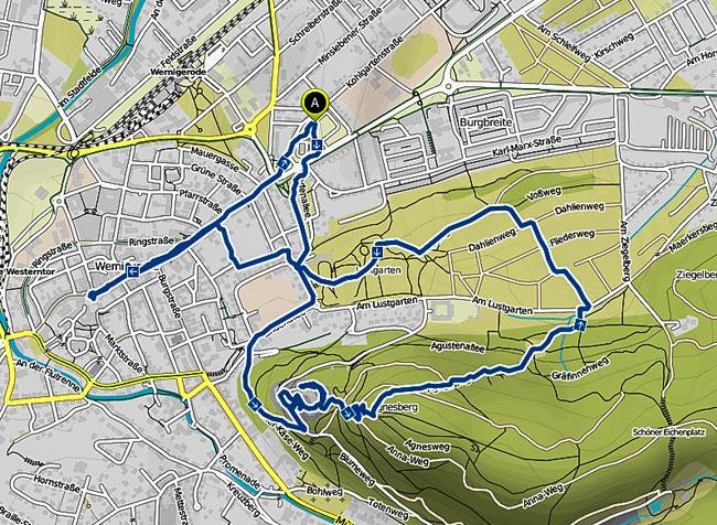 Bild: Wanderkarte von Wernigerode im Harz von der Stadt zum Schloss, Lustgarten und dem Agnesberg