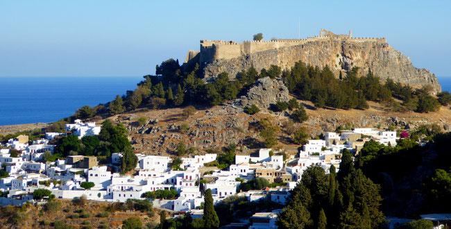 Bild: Die Akropolis von Lindos auf der Insel Rhodos