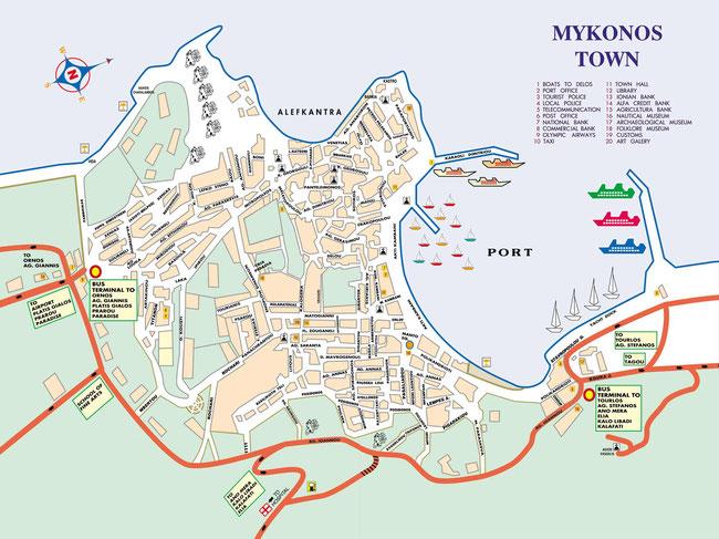 Bild: Karte von Mykonos Stadt