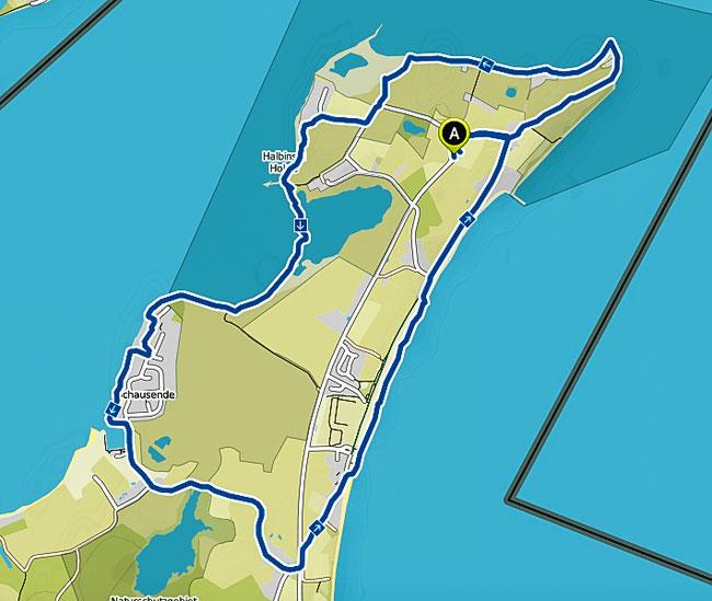 Karte der Wanderung auf er Halbinsel Holnis