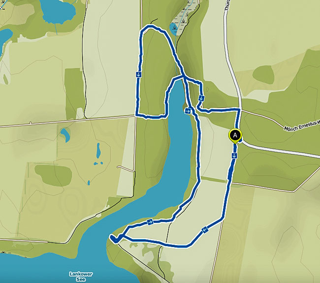 Bild: Karte der Wanderung durch das Naturschutzgebiet Lankower See