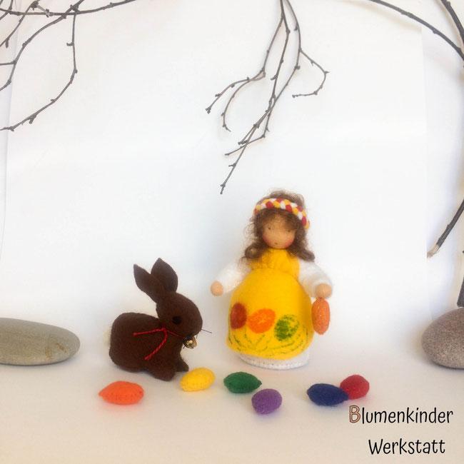 Blumenkinderwerkstatt Osterkind Osterhase und Ostereien