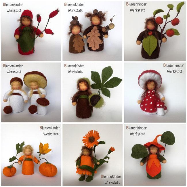 Blumenkinderwerkstatt Herbstcollage Hagebutte Eichel Apfelbaum Steinpilz Kastanie Fliegenpilz Kürbis Ringelblume Kapuzinerkresse