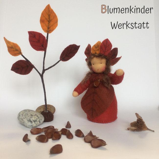 Blumenkinderwerkstatt Buchenblatt mit Bucheckern