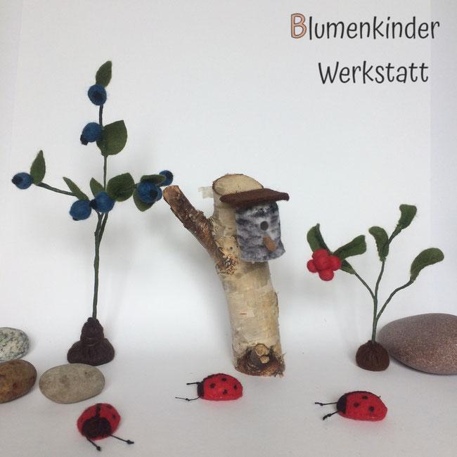 Blumenkinderwerkstatt Blaubeerstrauch Preiselbeerstrauch Marienkäferchen und Vogelhaus