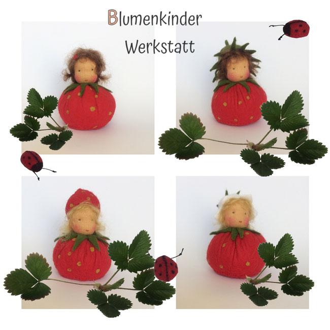 Blumenkinderwerkstatt vier verschiedene Erdbeerkugelkinder