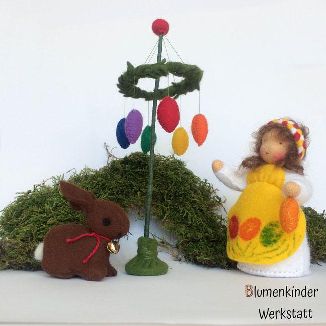 Blumenkinderwerkstatt Osterkind Hase Osterbaum