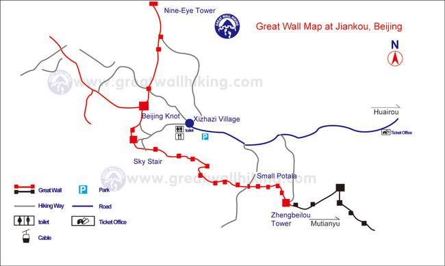 Karte der Grossen Mauer Jiankou