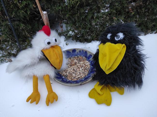 Rocco und Hilde helfen den hungernden Vögeln.