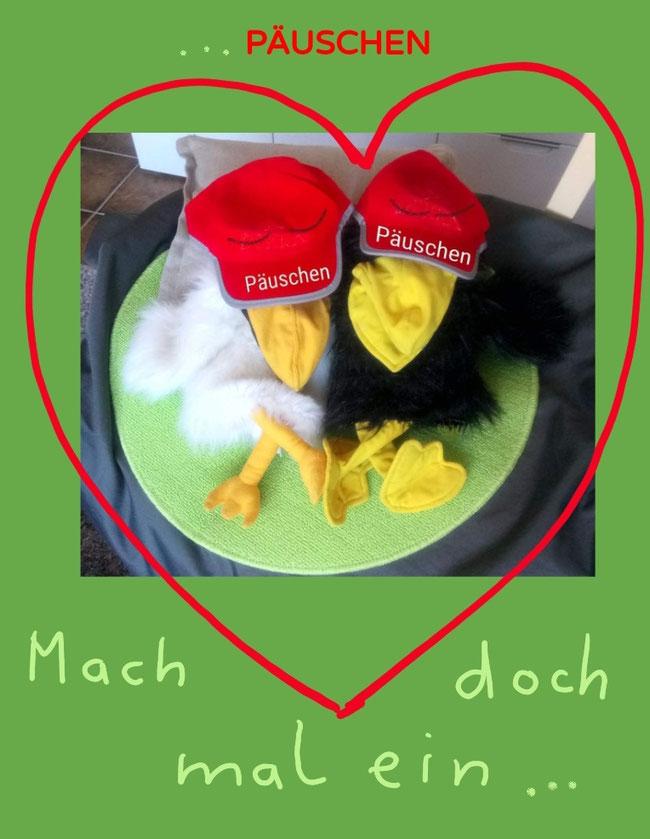 Bei den KuTis in Bocholt: Hilde und Rocco erinnern daran: Mach doch mal ein Päuschen!