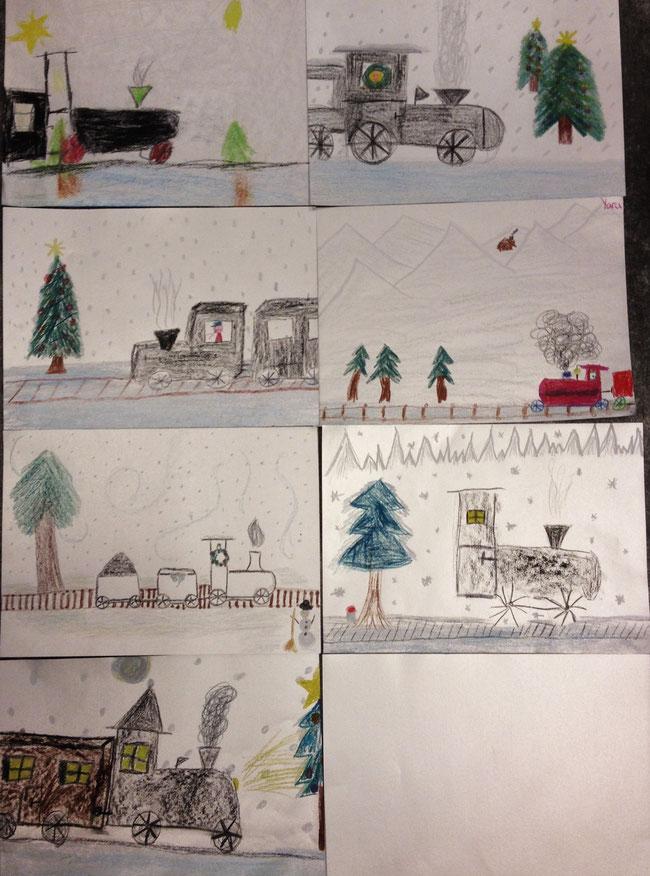 Lokomotiven in der Weihnachtslandschaft auf silbrigem Papier