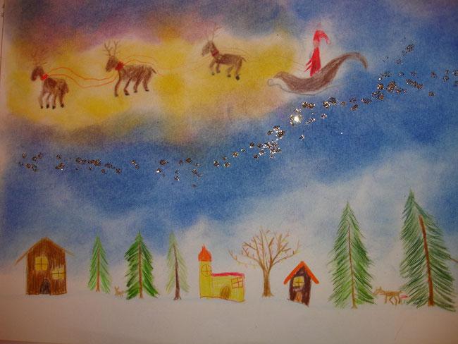 Zu Weihnachten malen die Kinder zauberhafte Bilder: hier mit Fabstift, Pastellkreide und Sternenstaub