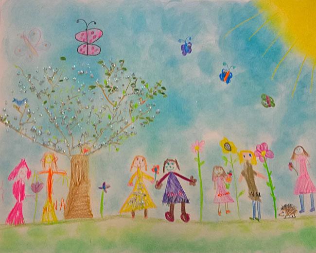 grosses Gemeinschaftsbild für das Geburtstagskind. Die Kinder haben zu einer Geschichte gemalt und jedes Kind hat sich selber auf das Bild gezeichnet.