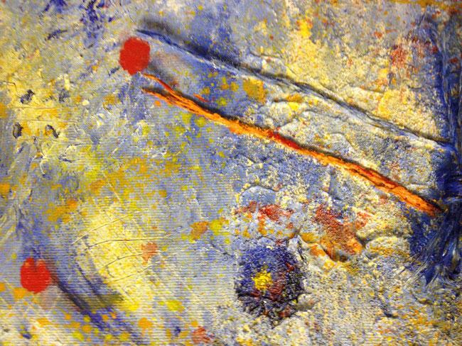 Moderne Malerei: Erwachsene. Spachtelmasse mit Schnüren. Schichten