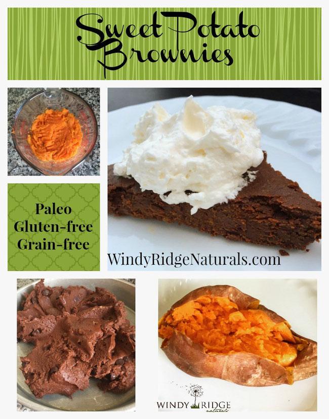 Gluten-free, Paleo, Grain-free, naturally sweet Sweet Potato Brownies from Windy Ridge Naturals.