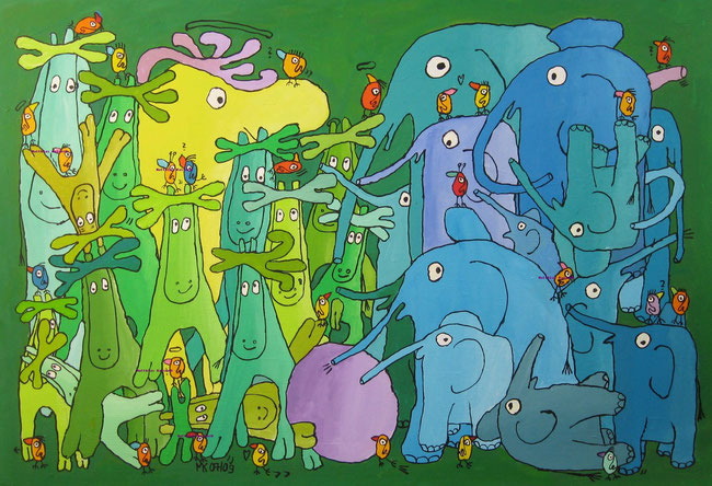 """elchs meets elefants playing football"", Acryl auf Leinwand, 100/70 cm, Juli 2009"