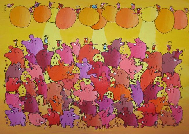 """""""schwitzende Tanzbodenschweine"""", Acryl auf Leinwand, 100/70 cm, September 2009"""