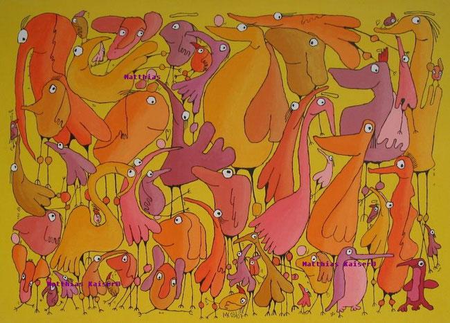 """""""grosse Vögelei"""" ,  Acryl auf Leinwand, 140/100 cm, März 2007"""