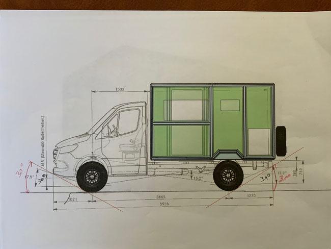 Zeichnung Sprinter mit geplanter Mox von 4wheel24
