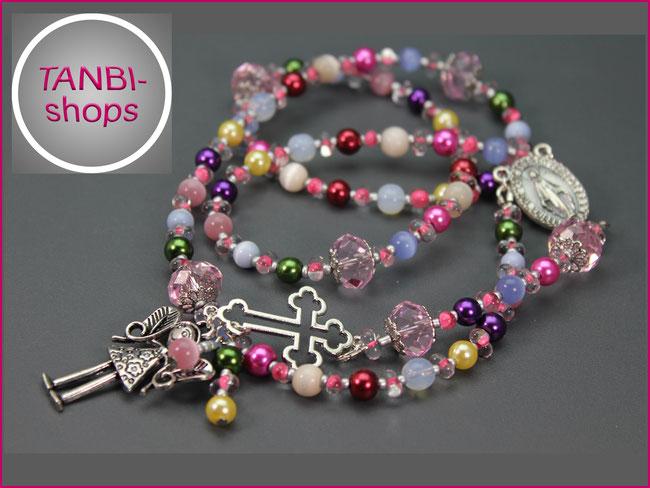 Rosenkranz, Mädchenrosenkranz, Kinderrosenkranz, Engel, Rosenkranzkette, Kommunionsgeschenk, Taufe, Firmung
