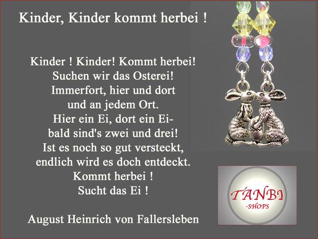 Kinder, Kinder kommt herbei! August Heinrich von Fallersleben, Osterspruch, Ostergedicht, TANBI-shops