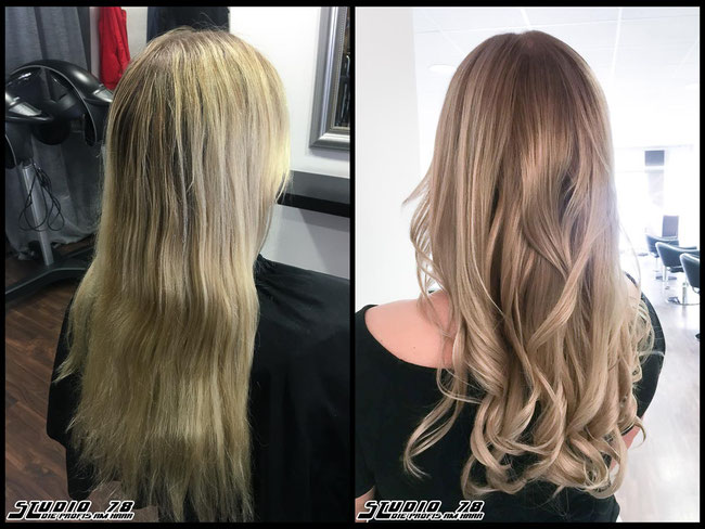 Coloration Haarfarbe blonde sunny balayage coloration vorher nachher